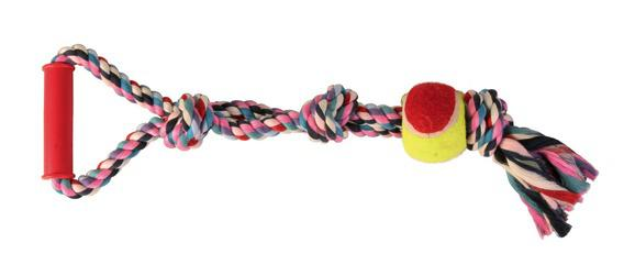Трикси Грейфер Веревка-ручка-мяч, цветной, 50*6,5см, Trixie