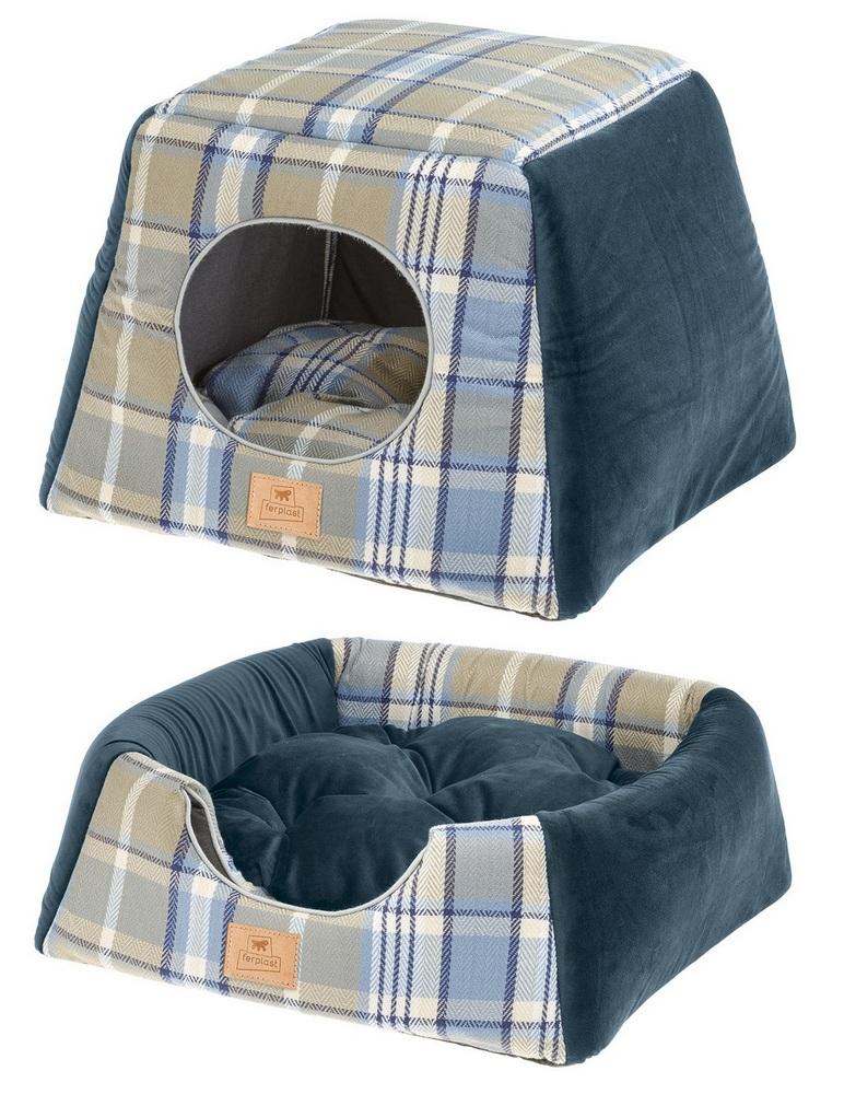 Ферпласт Домик-трансформер Edinburgh для собак и кошек, 44*44*33 см, синий, Ferplast