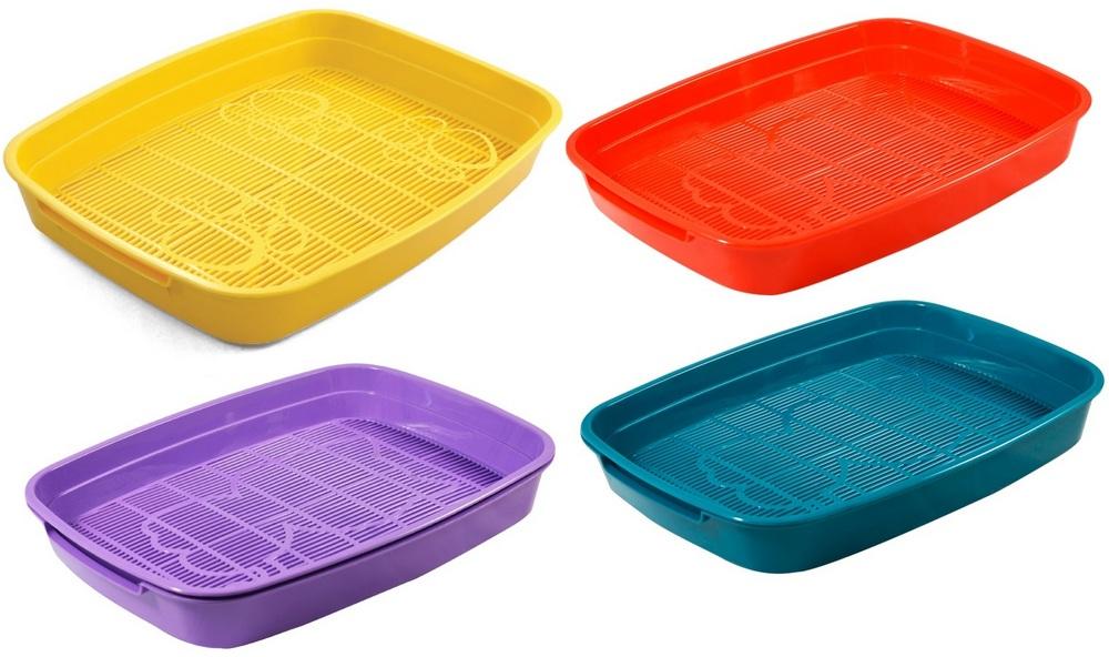 Гамма Туалет-лоток с цветной сеткой Леопольд для кошек, 34*26*5 см, Gamma