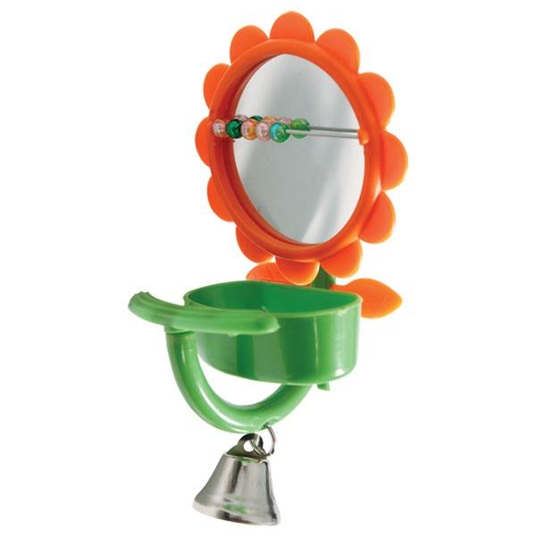 Триол Кормушка-игрушка с зеркалом и колокольчиком для птиц, 7*15 см, Triol