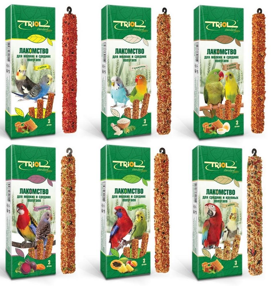 Триол Крекеры (палочки на деревянном стержне) Triol Standard для попугаев, в ассортименте, 3*80 г, Triol