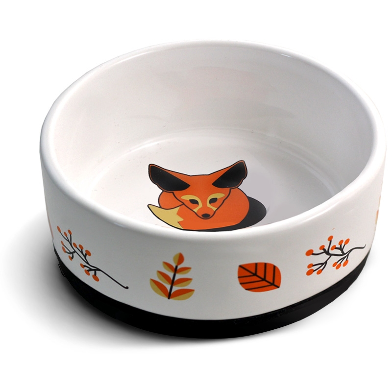 Триол Миска керамическая нескользящая Лиса для собак и кошек, 450 мл, 14*5,5 см, Triol