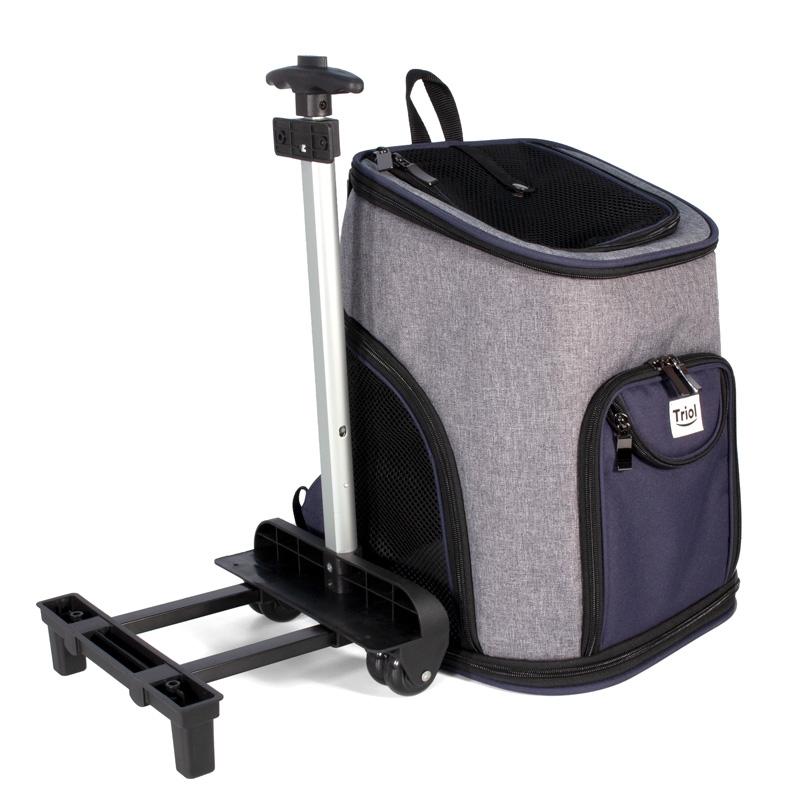 Триол Сумка-рюкзак на колесах Трансформер с отстегивающейся платформой для собак и кошек, 33*30*50 см, Triol