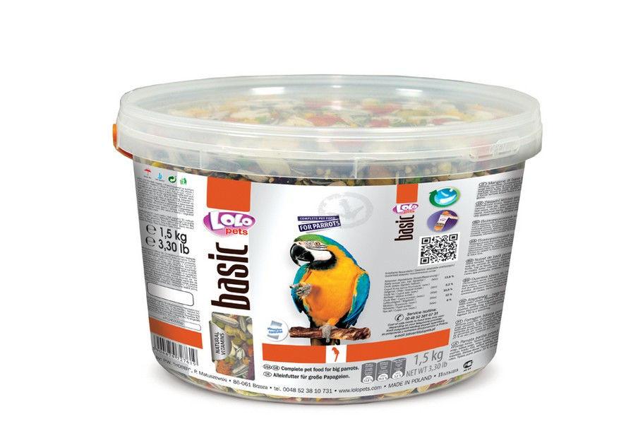 ЛолоПетс Корм для крупных попугаев полнорационный Basic, в ассортименте, LoloPets