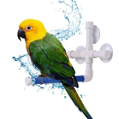 Жердочка для купания птиц с креплением на присосках, пластик