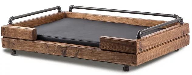 Дизайнерский лежак для собак Loft, 70*100*24 см, ортопедический матрас, ясень/металл/экокожа, Россия