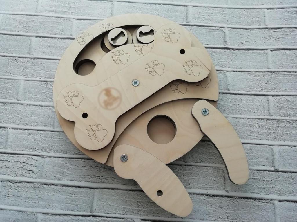 Зигзаг Развивающая игрушка Кость ZZA0302 для собак, кошек, диаметр 26 см, фанера