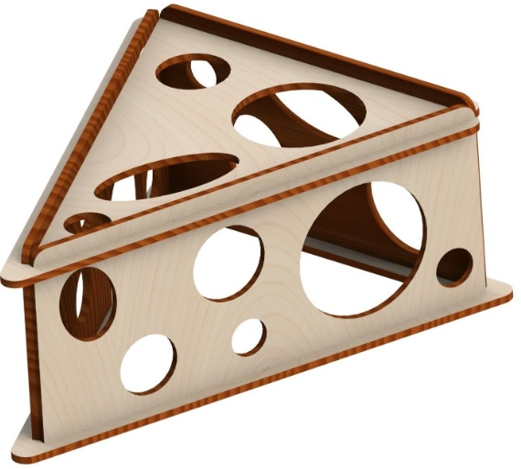 Зигзаг Домик-игрушка для мелких грызунов Сыр, 17*23*9 см, фанера, Россия