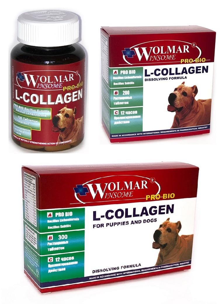 Волмар Винсом Мультикомплекс Pro Bio L-Collagen Синергический мультикомплекс для восстановления сухожилий и связок у щенков и взрослых собак, в ассортименте, Wolmar Winsome