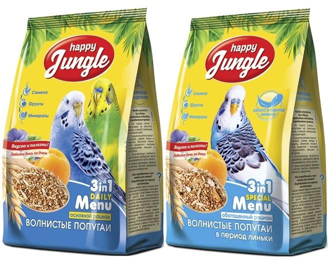 Хэппи Джангл Корм для волнистых попугаев, в ассортименте, 500 г, Happy Jungle