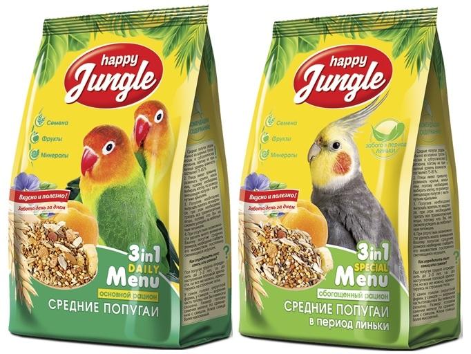 Хэппи Джангл Корм для средних попугаев, в ассортименте, 500 г, Happy Jungle