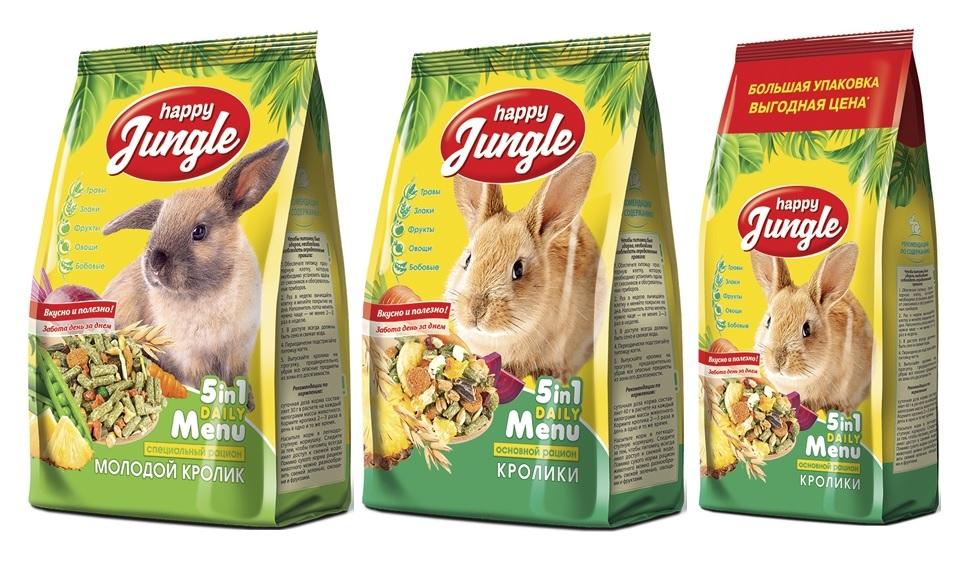 Хэппи Джангл Корм для кроликов, в ассортименте, Happy Jungle