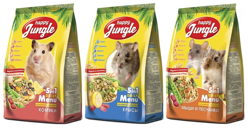 Хэппи Джангл Корм для грызунов, в ассортименте, 400 г, Happy Jungle