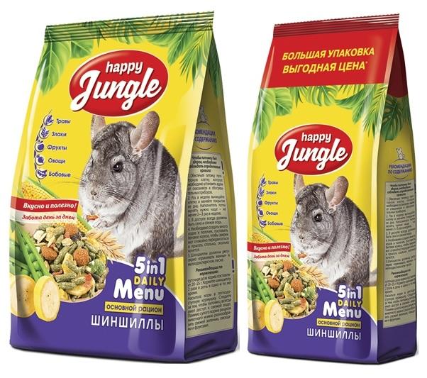 Хэппи Джангл Корм для шиншилл, в ассортименте, Happy Jungle