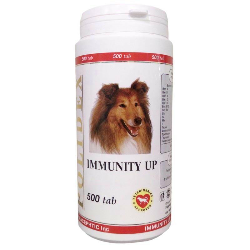 Полидекс Иммунити Ап 0993 повышает иммунитет у щенков и собак мелких и средних пород, 500 таблеток, Polidex
