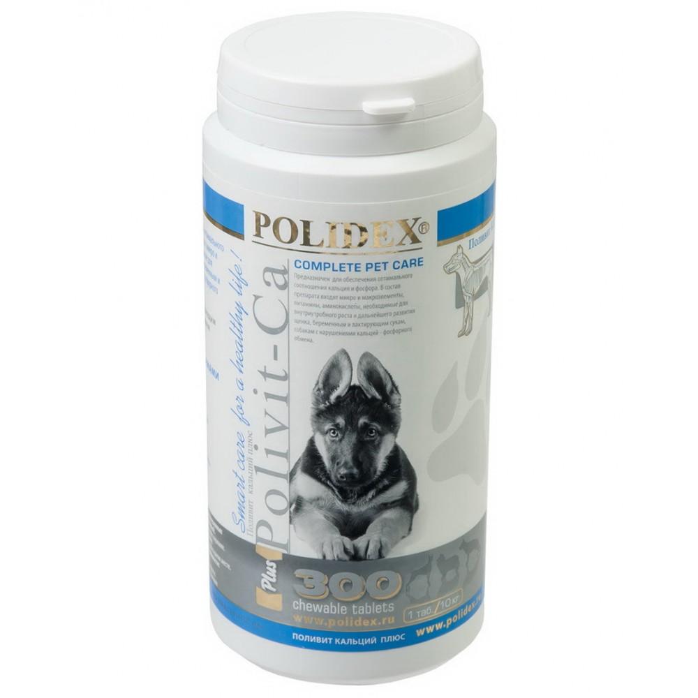 Полидекс Поливит кальций плюс 2109 улучшение роста костной ткани у щенков и собак крупных пород, 300 таблеток, Polidex