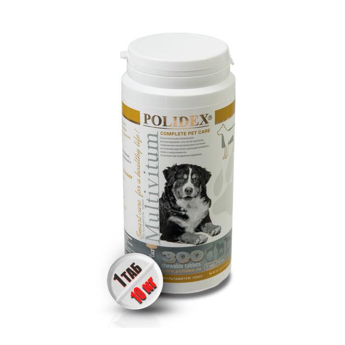 Полидекс Мультивитум плюс 2123 поливитаминно-минеральный комплекс для щенков и собак крупных пород, 300 таблеток, Polidex