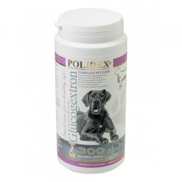 Полидекс Глюкогекстрон плюс 2079 восстановление хрящевой ткани для щенков и собак крупных пород, 300 таблеток, Polidex