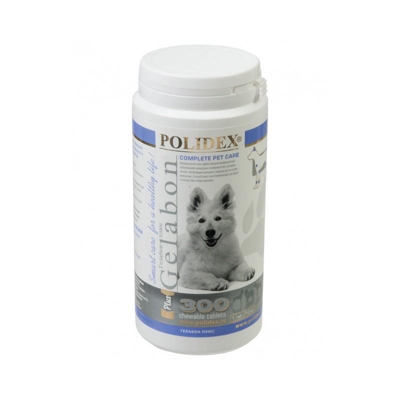 Полидекс Гелабон плюс 2086 профилактика и лечение заболеваний суставов, костей у щенков и собак крупных пород, 300 таблеток, Polidex