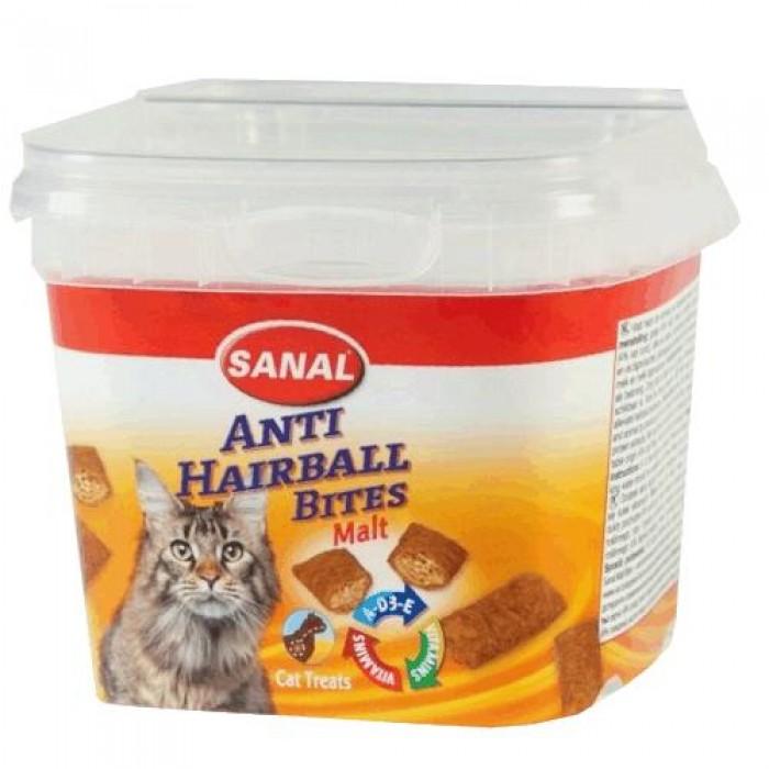 Санал Лакомство Подушечки Malt Bites для выведения шерсти у кошек, 75 г, Sanal