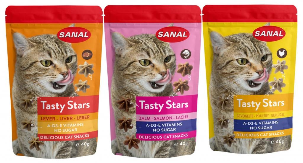 Санал Лакомство Tasty Stars для кошек, 40 г, в ассортименте, Sanal