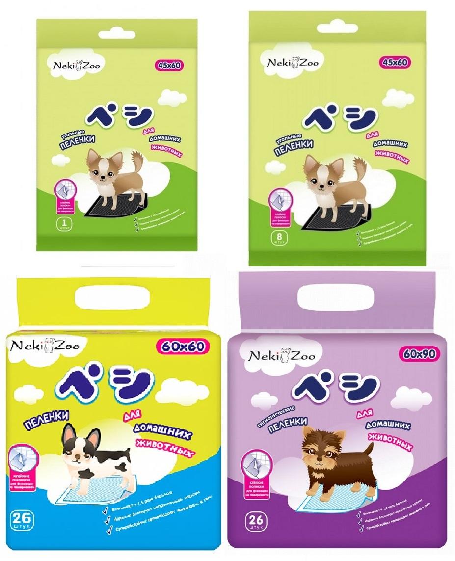 Манеки Пеленки Neki-Zoo гелевые с липучкой для домашних животных, в ассортименте, Maneki