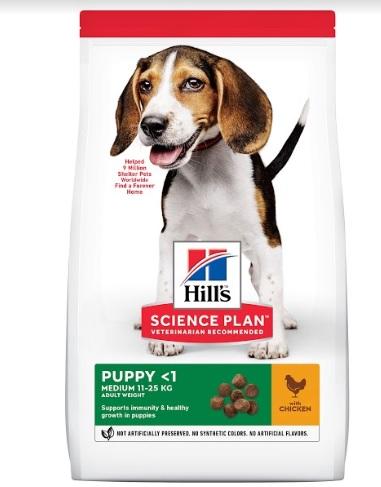 Хиллс Корм сухой Science Plan Puppy Healthy Development Medium Chicken для щенков средних пород, Курица, в ассортименте, Hills