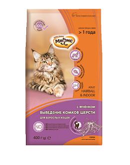 Мнямс Корм сухой Hairball Indoor для кошек вывод шерсти, Ягненок, в ассортименте