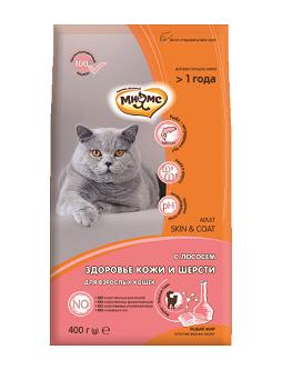 Мнямс Корм сухой Skin Coat для кошек Здоровье кожи и шерсти, Лосось, в ассортименте