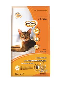 Мнямс Корм сухой Sterilized для стерилизованных кошек, Индейка, в ассортименте