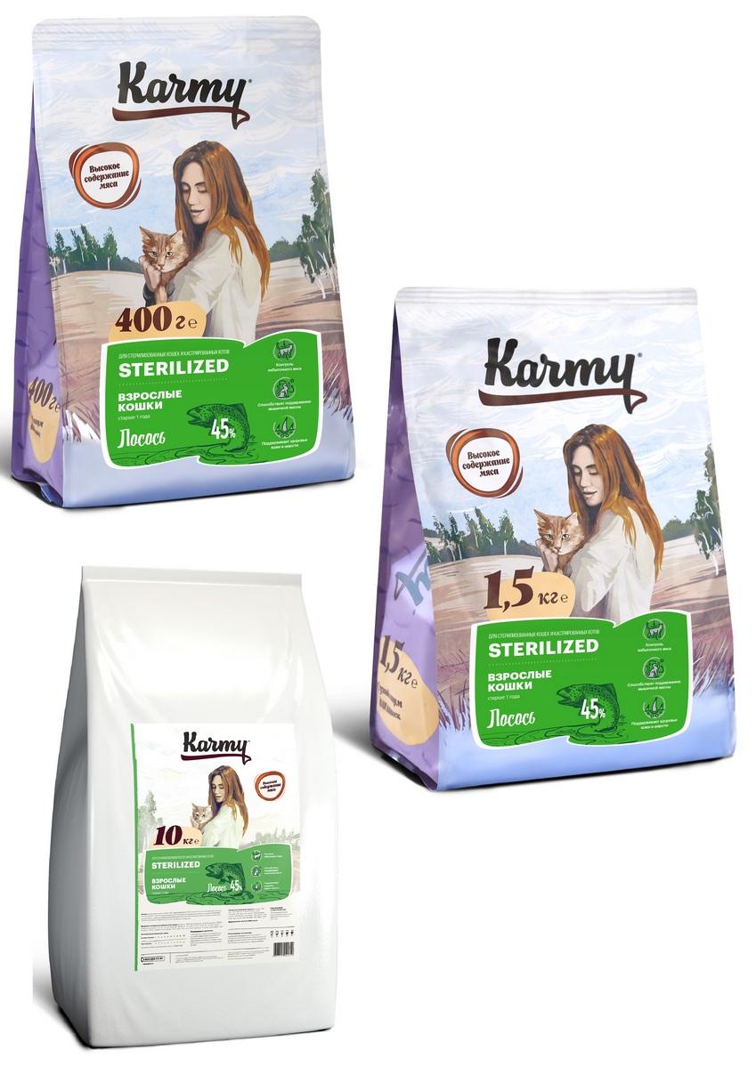 Карми Корм сухой Sterilized для кастрированных/стерилизованных кошек, Лосось, в ассортименте, Karmy