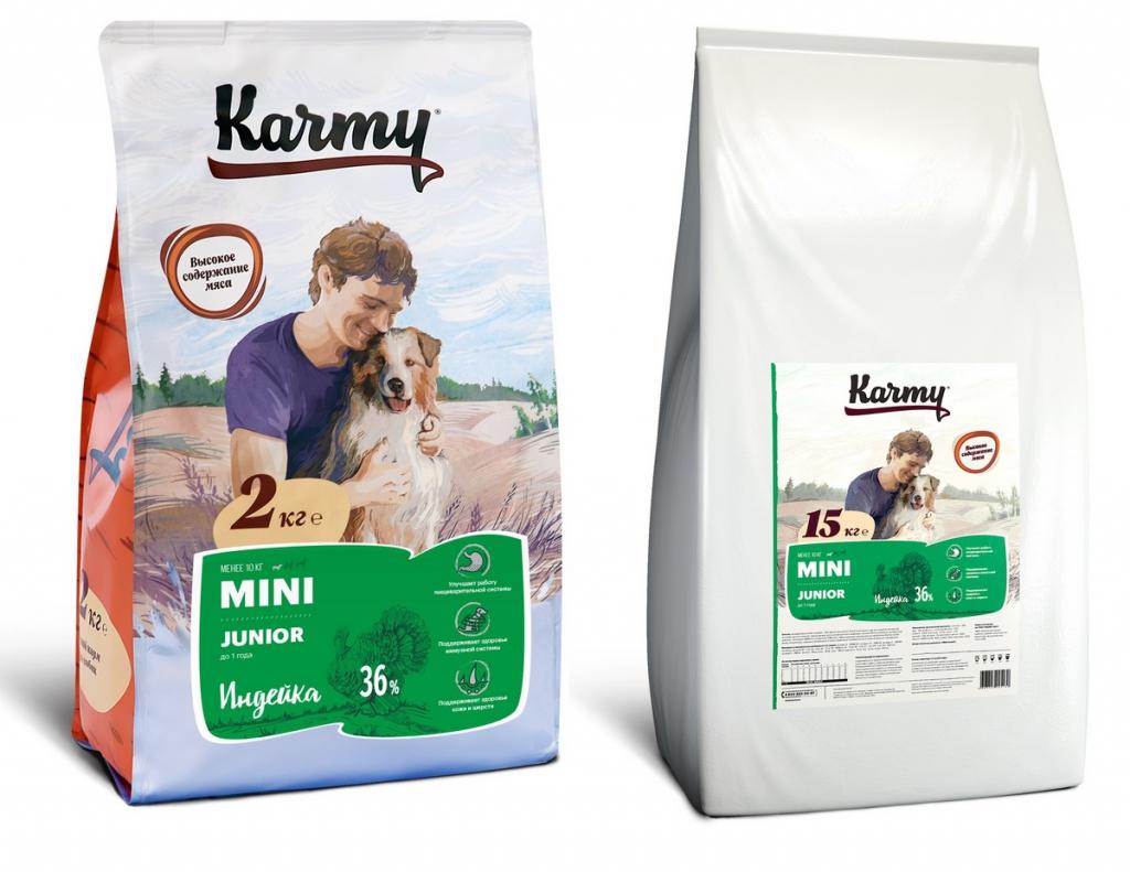 Карми Корм Mini Junior для щенков, беременных и кормящих сук мелких пород, Индейка, в ассортименте, Karmy