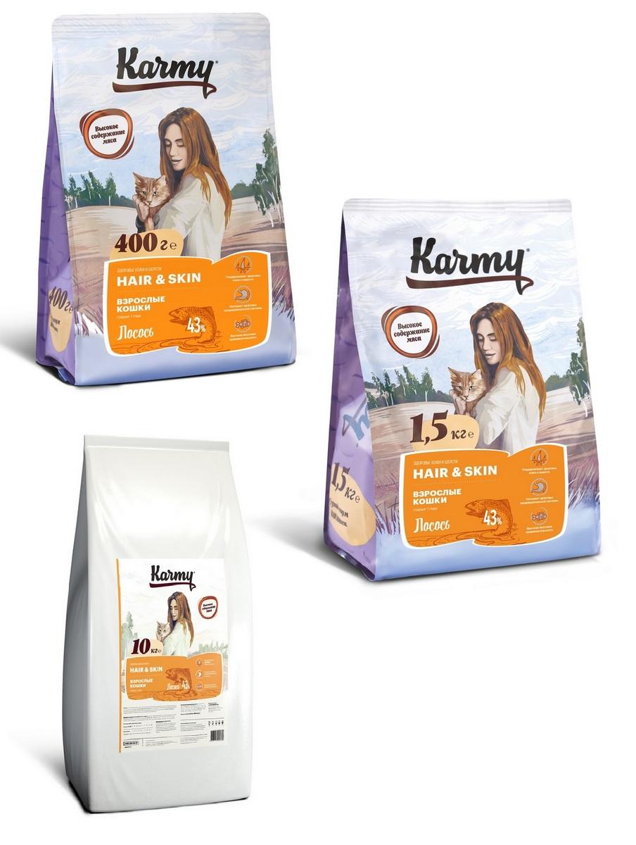 Карми Корм сухой Hair Skin для кошек, поддерживающий здоровье кожи и шерсти, Лосось, в ассортименте, Karmy