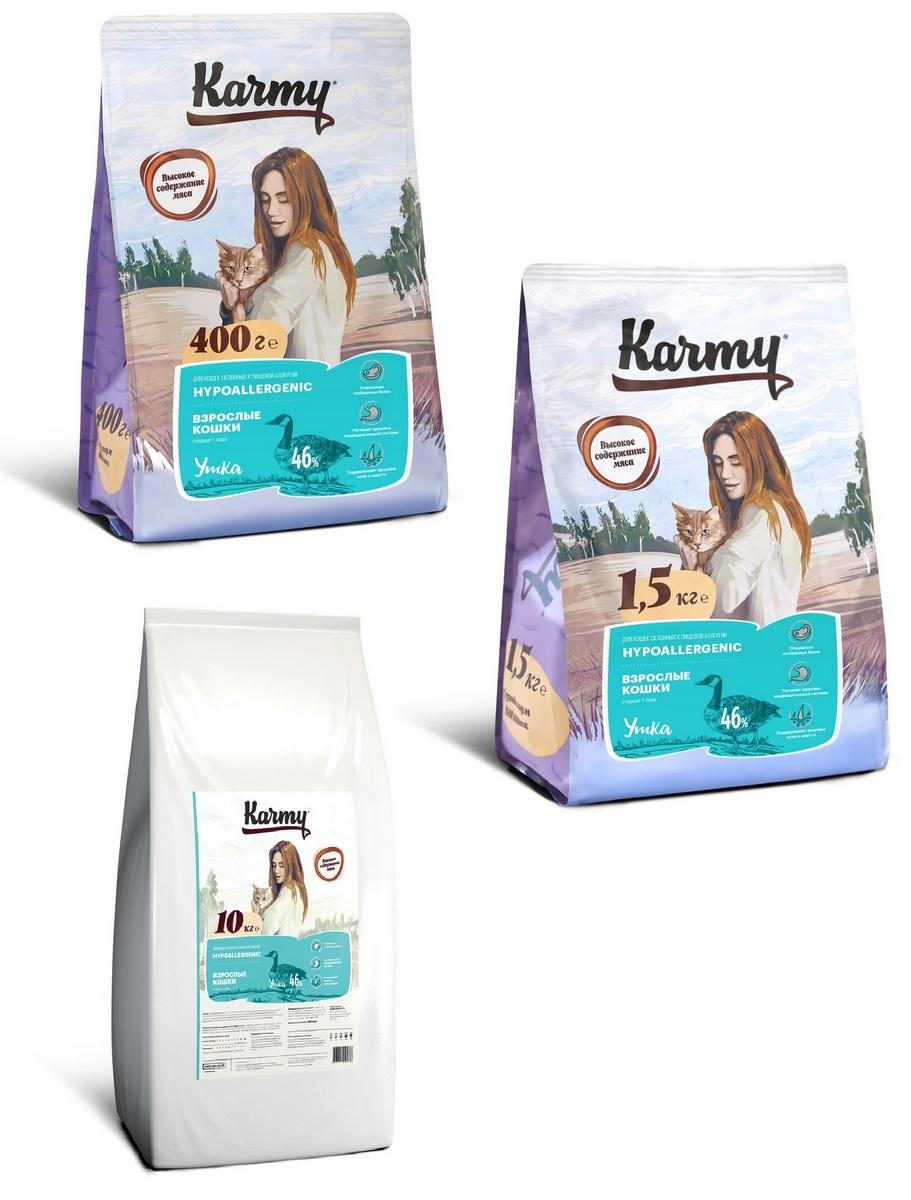 Карми Корм сухой Hair Skin для кошек, склонных к пищевой аллергии, Утка, в ассортименте, Karmy