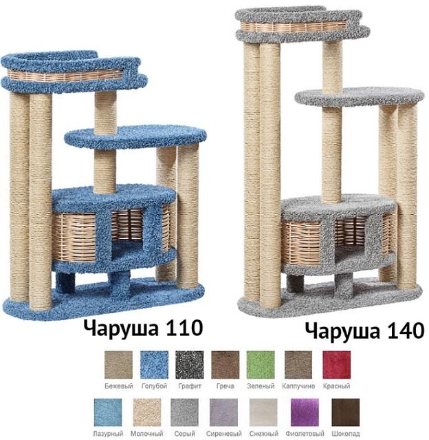 Пушок Комплекс Чаруша для крупных кошек, основание 100*42 см, в ассортименте, ковролин/сизаль/лоза, Россия