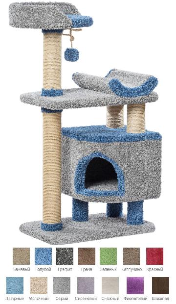 Пушок Комплекс Монти для кошек, 67*42*126 см, в ассортименте, ковролин/сизаль, Россия