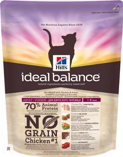 Хиллс Корм сухой Ideal Balance для взрослых кошек, Курица/Картофель, 300 г, Hills
