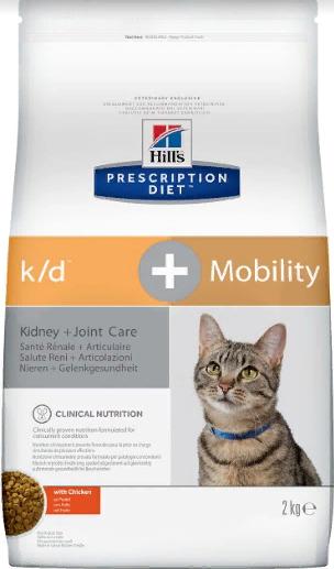 Хиллс  Корм сухой Prescription Diet k/d+Mobility для кошек, Лечение заболеваний почек, сердца, профилактика МКБ, поддержание здоровья суставов, 2 кг, Hills