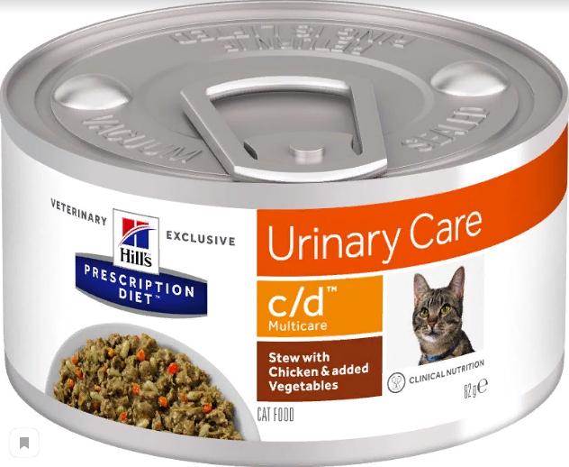 Консервы Хиллс Prescription Diet c/d Multicare для кошек при заболеваниях мочевыводящей системы, Курица/Овощи, 82 г, Hills