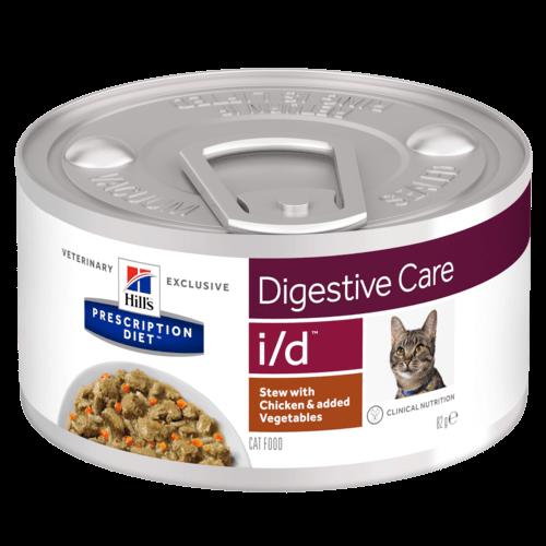 Хиллс Консервы Prescription Diet i/d Digestive Care для кошек с расстройствами пищеварения, Рагу Курица/Овощи, 82 г, Hills