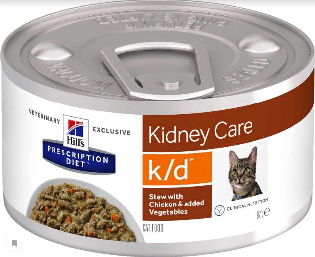 Хиллс Консервы Prescription Diet k/d для кошек, При заболеваниях почек и сердца, Курица/Овощи, 82 г, Hills