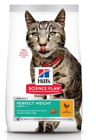 Хиллс Корм сухой Science Plan Perfect Weight для взрослых кошек, Идеальный вес, Курица, 1,5 кг, Hills