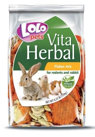 ЛолоПетс Дополнительный корм для грызунов Herbal Flakes Mix, 150 г, LoloPets