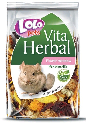 ЛолоПетс Дополнительный корм-лакомство для шиншилл Herbal Flower Meadow, 30 г, LoloPets