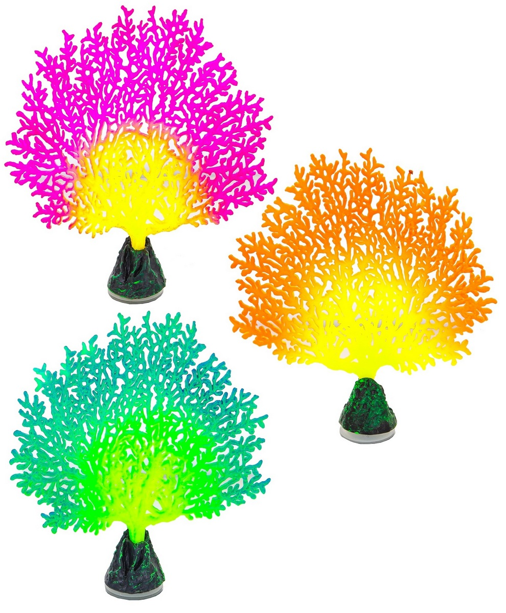 Глокси Флуоресцентная аквариумная декорация Коралл веерный, 13,5*3*16 см, в ассортименте, Gloxy
