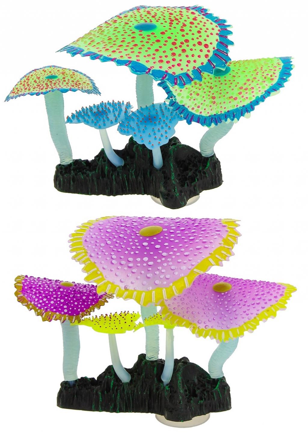 Глокси Флуоресцентная аквариумная декорация Кораллы зонтничные, 14*6,5*12 см, в ассортименте, Gloxy