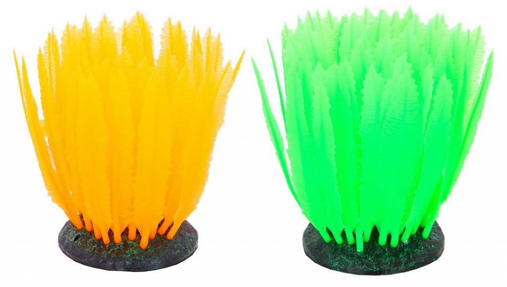 Глокси Флуоресцентная аквариумная декорация Морская лилия, 10*7,5*11 см, в ассортименте, Gloxy