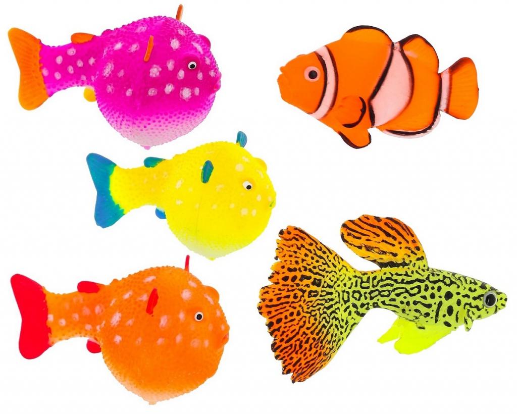 Глокси Флуоресцентная аквариумная декорация Рыба на леске, в ассортименте, Gloxy