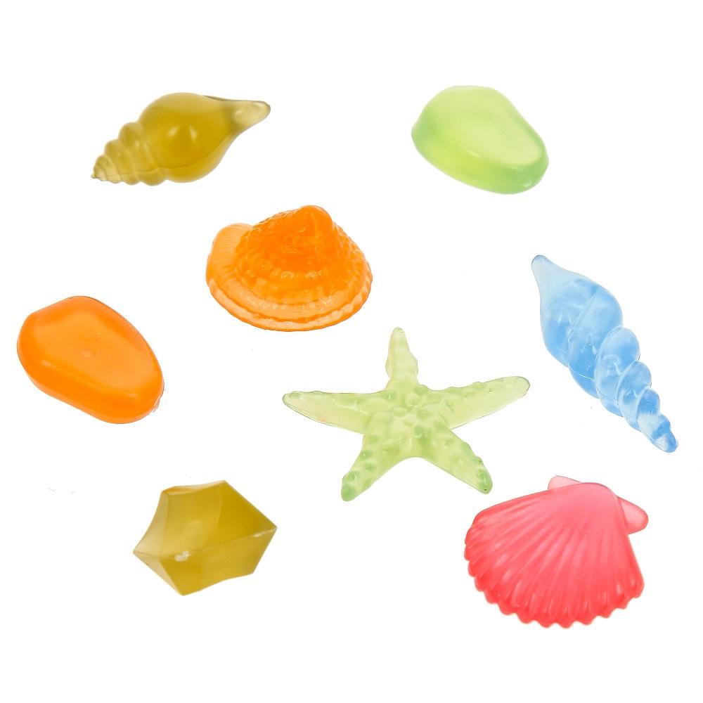 Глокси Флуоресцентная аквариумная декорация Набор ракушек, 8 штук, Gloxy