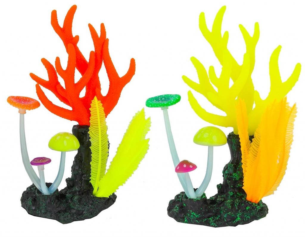 Глокси Флуоресцентная аквариумная декорация Морские кораллы, 14*6,5*21 см, в ассортименте, Gloxy